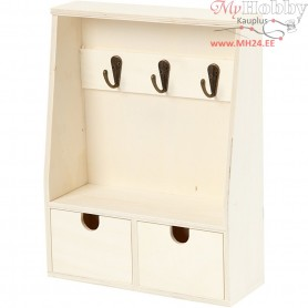 Key cabinet, H: 28.5 cm, W: 22 cm, plywood, 1pc, depth 5-8 cm