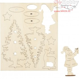 Self-assembly Figures, Santa Claus, christmas trees, deer, L: 20 cm, W: 17.5 cm, plywood, 1pack, thickness 3 mm