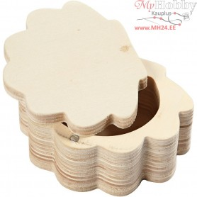 Box, Shell, LxWxH 6x8x4 cm, inner size 4.3x5x2.6 cm, plywood, 1pc