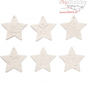 Hanging Ornaments, star, size 7x7 cm, thickness 6 mm, white, 6pcs