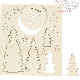 Self-assembly Figures, christmas trees, L: 20 cm, W: 17,5 cm, plywood, 1pack, thickness 3 mm