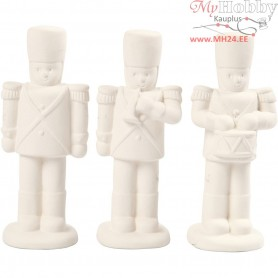 Nutcracker, H: 14 cm, white, 3pcs