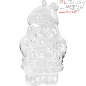Santa Claus Bauble, santa claus, H: 13.5 cm, transparent, 2pcs