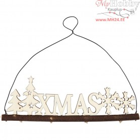 Christmas decoration, XMAS, H: 7 cm, W: 22 cm, plywood, 1pc, depth 0.5 cm