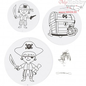 Mobile Ornaments with Motifs, pirates, D: 12+15+18 cm,  300 g, white, 3sets