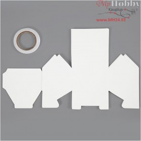 House, one-story family house, size 8x6.5x7.5 cm,  230 g, white, 8pcs, 230 g