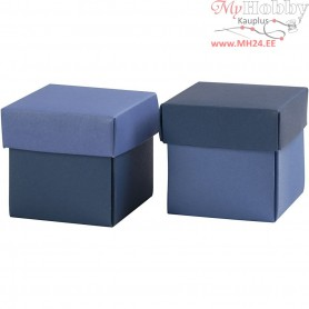 Folding box, size 5.5x5.5 cm,  250 g, light blue/dark blue, 10pcs