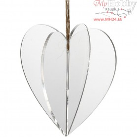 Acrylic ornaments, 3D heart, size 7.5x7.5 cm, thickness 2 mm, 3pcs