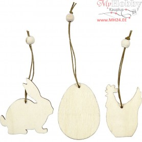 Wooden Ornament, rabbit, egg, hen, size 6 cm, thickness 3 mm, 9pcs