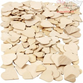 Mosaics, hearts, size 18-30 mm, thickness 2 mm, birch, 250pcs