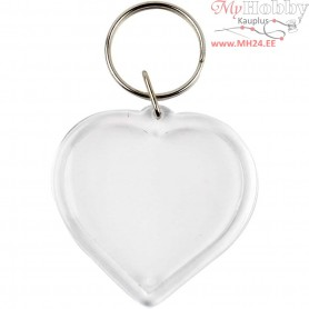 Key Rings, Heart, size 40x40 mm, 25pcs