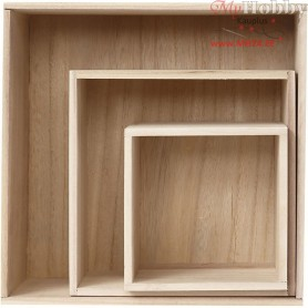 Storage Boxes, square, H: 15x15+21.5x21.5+28x28 cm, depth 12.5 cm, paulownia, 3pcs