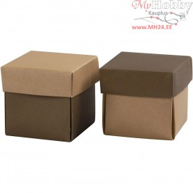 Folding box, size 5.5x5.5 cm,  250 g, sand/brown, 10pcs