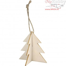 3D Hanging Decoration, tree, size 7.5x7.5 cm, thickness 2 mm, 3sets