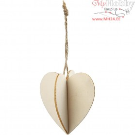 3D Hanging Decoration, heart, size 7.5x7.5 cm, thickness 2 mm, 3sets