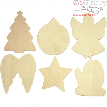 Christmas Shapes, size 8-9 cm, thickness 3 mm, 6pcs
