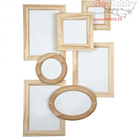 Photo Frame - Assortment, size 8-21 cm, pine, 7pcs