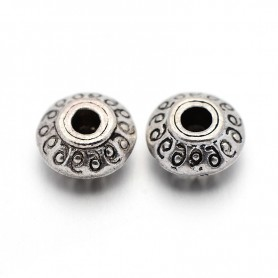 Tibetan Style Beads, diameter: 7 mm, thickness: 4.5 mm, hole: 1 mm, antique silver, 100pcs