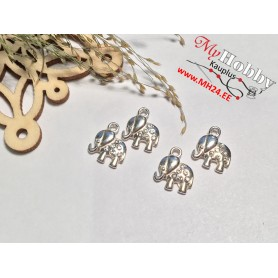 """Pendant with crystals """"Elephant"""", 925 silver, dimensions: 9x8mm, 1pc"""