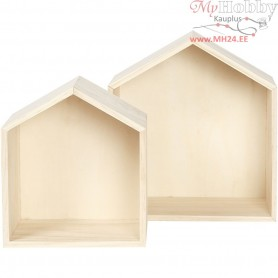 Storage Boxes, house, H: 20+25 cm, W: 17,5+22,5 cm, pine, 2pcs, depth 12,5 cm