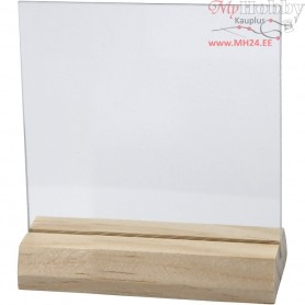 Glass Plate with Wooden Holder, 2. sort, size 7,5x7,5 cm, thickness 28 mm, 10sets