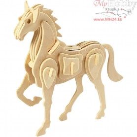 3D Wooden Construction Kit, horse, size 18x4,5x16 cm, plywood, 1pc