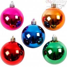 Christmas Ornaments, D: 6 cm, bold colours, 20pcs