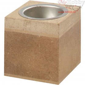 Tea Light Candle Holder, size 6x6 cm, H: 6 cm, MDF, 1pc