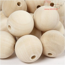 Wooden Bead, D: 30 mm, hole size 5 mm, china berry, 50pcs