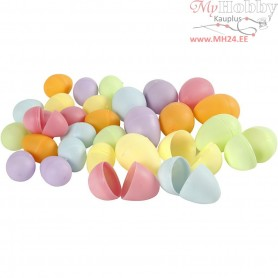 Egg, H: 4,5+6 cm, D: 3+4  cm, pastel colours, 720pcs