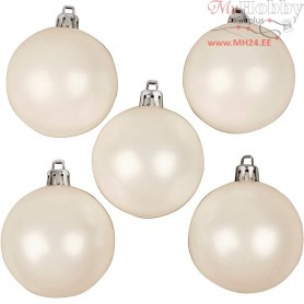 Christmas Ornaments, D: 6 cm, white, mother-of-pearl, 20pcs