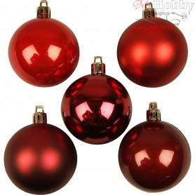 Christmas Ornaments, D: 6 cm, red harmony, 20pcs