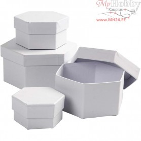 Hexagonal Boxes, D: 6,5+8+10+12 cm, H: 4+5+6+7 cm, 4pcs
