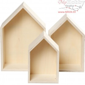 Storage Boxes, houses, H: 20,3+25,3+31 cm, W: 13+16,2+20 cm, plywood, 3pcs, depth 10 cm