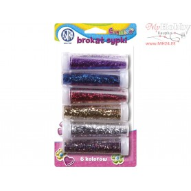 Glitter 7g x 6 colors (purple, blue, red, gold, silver, multicolor) blister