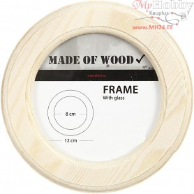 Frame With Glass, W: 12 cm, carving: 8 cm, pine, 1pc