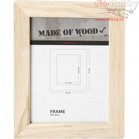 Frame With Glass, size 21x16 cm, carving: 16,7x11,7 cm, pine, 1pc