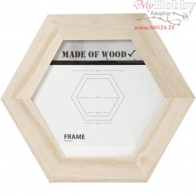 Frame With Glass, hexagonal, D: 30x30 cm, carving: 21x21 cm, empress wood, 1pc