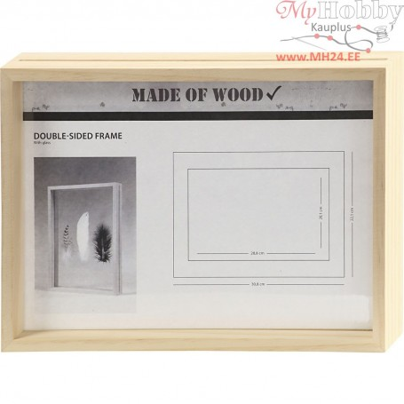 Double Frame, A4, size 22,1x30,8 cm, depth 4,5 cm, pine, 1pc, inner size