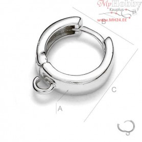 Sterling Silver Earring Findings 925 Round closed ear wire with loop