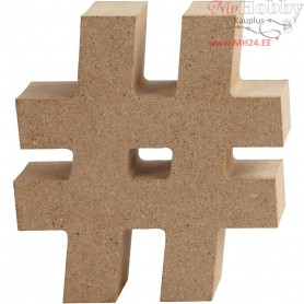 Symbol, #, H: 8 cm, thickness 1,5 cm, MDF, 1pc