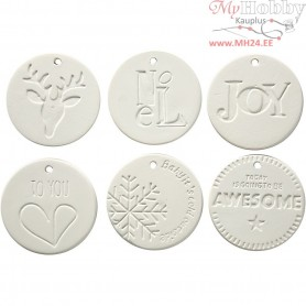 Hanging Ornaments, size 7x7 cm, thickness 0,6 cm, white, 6pcs