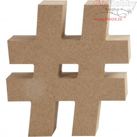 Symbol, #, H: 13 cm, thickness 2 cm, MDF, 1pc