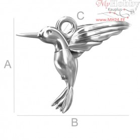 Silver Findings 925 - HUMMINGBIRD charms - ODL-00058