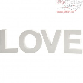 Letters, LOVE, H: 17,5 cm, depth 4,5 cm, white, 1set