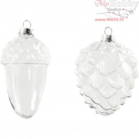 Glass Ornaments, D: 5,5+7,5 cm, H: 9,5+10,5 cm, transparent, 4pcs