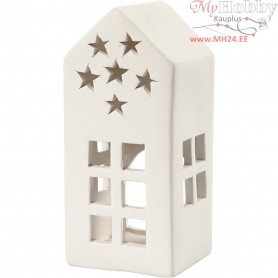 Tea Light Candle Holder, house, size 7x7 cm, H: 16 cm, white, 8pcs