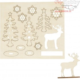 Self-assembly Figures, forrest with roe deers, L: 15,5 cm, W: 17,5 cm, plywood, 1pack, thickness 3 mm