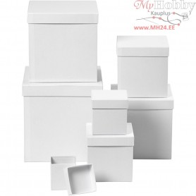 Boxes, square, size 7,5+10+13+15+18+20+23 cm, H: 7,5+10+13+15+18+20+23 cm, white, 7pcs