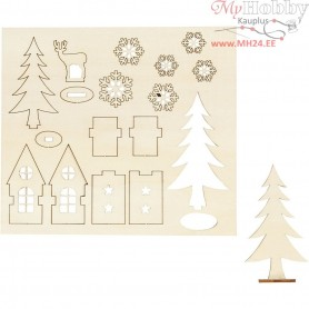 Self-assembly Figures, house, tree, roe deer, L: 15,5 cm, W: 17,5 cm, plywood, 1pack, thickness 3 mm